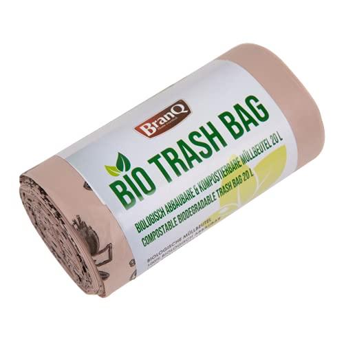 BranQ - Home essential Biologisch abbaubare und kompostierbare Müllbeutel, 20Ltr, univeral, braun, 20 STK, Ltr