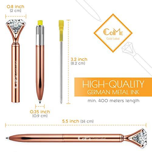 4 PCS Color Diamond Pens Rose Gold - 4 Velvet Bags, 8 Ink Refills Black & Blue, Gift Pen Set for Writing - Fancy Pens for Girls, Crystal Jewel Cute Pens for Women, Girly Ballpoint Pen with Diamond Top Photo #2