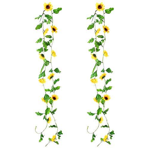 Keleily Sonnenblumen Girlande Künstliche Sonnenblumen Girlande Reben Gefälschte Seidenblume Reben Hängepflanzen für Hochzeit Garten Party Balkon Decor (2 STÜCKE)