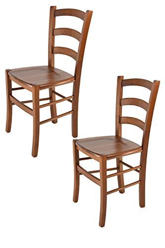 Tommychairs - Set 2 sedie modello Venice per cucina bar e sala da pranzo, robusta struttura in legno di faggio color noce chiaro e seduta in legno