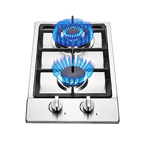 12' Built-in Gas Cooktop, NG/LPG Convertible Stainless Steel Gas Stove Top with Thermocouple...