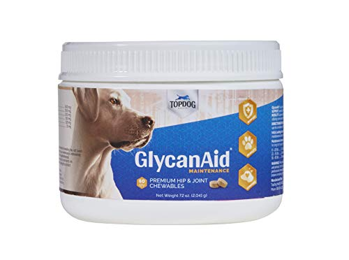 TopDog Health - GlycanAid Maintenance Joint Supplement for Dogs (60 Chewable Tablets) - Made in USA & with USA Ingredients - Glucosamine HCL - Chondroitin Sulfate - MSM - Cetyl-M - Vitamin C