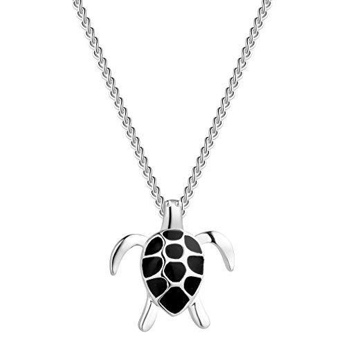 Collar de plata de ley 925 encantador bebé joyería negro tortuga encanto colgante animal collar amigos regalo