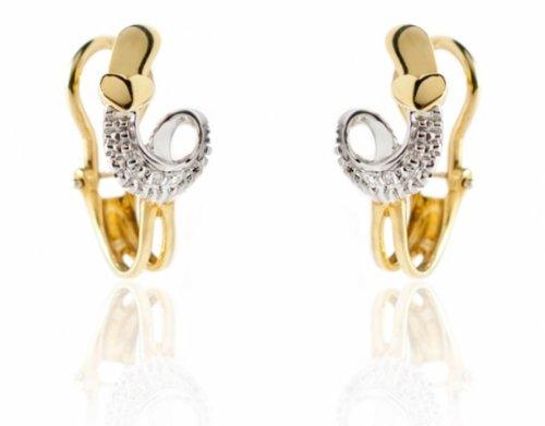 Orecchini a clips in oro giallo e bianco 18kt con diamanti