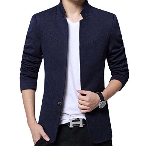 Aooword-men clothes Herren lässige 1 button langarm flexible fit blazer US Large=China X-Large Blau
