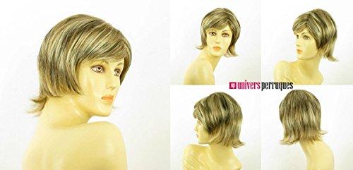 perruque femme courte blond clair méché cuivré clair et chocolat lisse ref capucine 15613h4