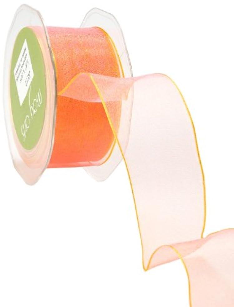 May Arts 1-1/2-Inch Wide Ribbon, Pink and Yellow Iridescent