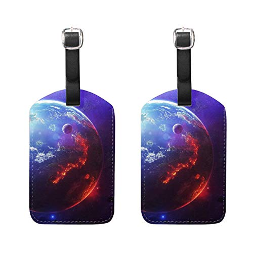 Set of 2 Luggage Tags:Cosmos Planet - Bag Tags for Travel