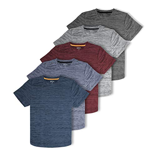 [5 Pack] Men's Dry-Fit Active Athletic Performance Crew Neck T Shirts - Running Gym Workout Short Sleeve Quick Dry Tee Top (Set 1, Medium)
