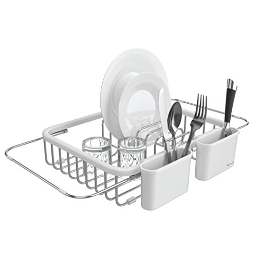 Shanik Expandable Draining Dish Rack - Over-Sink Dish Drainer, Sponge Rack with Two Utensil Holders. Sit in Sink or On Counter. 14 inches to 20.4 inches - White