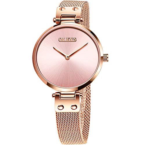 Lady Rose Gold Steel Mesh Watch,Women Small Watch Pink Dial,Gift Watch for Mother's Day,Luxury...