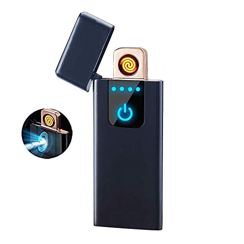 Smart Fingerprint Sensor Lighter Flameless Windproof Lighter Double Side Cigarette Ignition Lighter USB Rechargeable Lighter Best Gift for Your Boyfriend, Family, Your Father (Black)