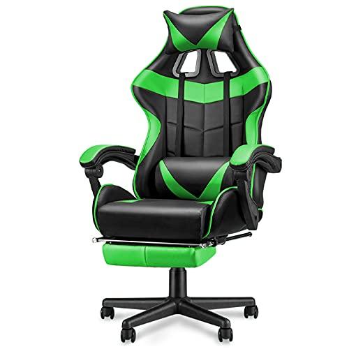 Soontrans Sedia Gaming con Poggiapiedi Sedia da Ufficio Poltrona da Gaming Ergonomica Girevole con Poggiatesta e Cuscino Lombare (Verde)