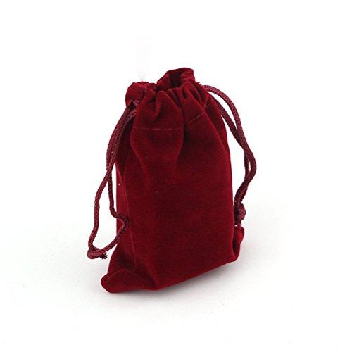 PIXNOR 9 * 12cm Samt Schmuck Beutel Geschenk Säckchen Samtbeutel - 10pcs (rot)