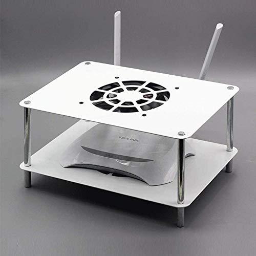 Estante flotante de 2 niveles para componentes de TV, estante de enrutador Wifi, estante de equipo multimedia para consola de TV, con...