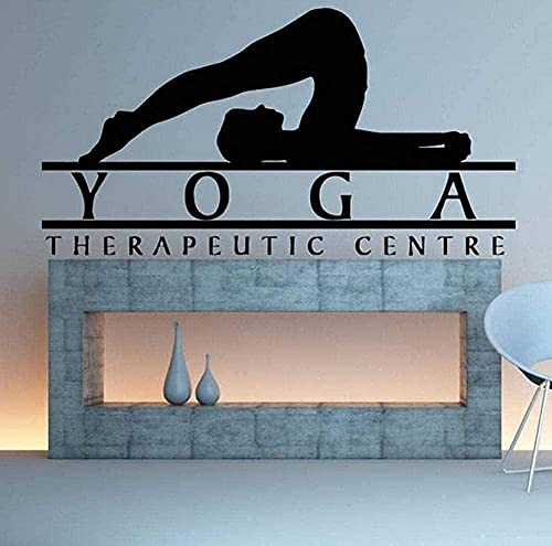 Pegatinas de pared de PVC extraíbles Centro de tratamiento de yoga Pose Diseño de interiores Pegatina Art Girl Patrón 42X79Cm