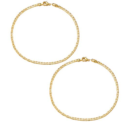FEEL STYLE Anklet Bracelets 18k Gold Anklet for Women Girl Rope Chain Ankle Bracelet Foot Jewelry for Vacation Beach Wedding Christmas Day Gifts 2 Pack 7.5 Inch