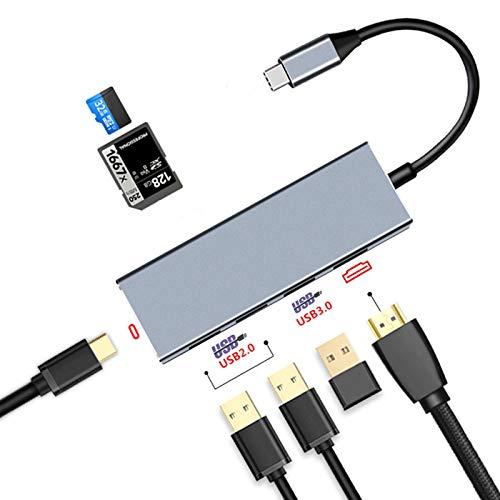 Concentrador USB C, estación de Acoplamiento para computadora portátil con Puerto de Carga PD/Puerto HDMI 4K / Lector de Tarjetas Micro SD/TF/Lector de Tarjetas SD/Puerto USB 3.0 / USB 2.0