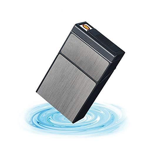 Yuan Ou Zigarettenetui Kreative Zigarettenschachtel mit abnehmbarem USB-Wolfram-Turbo-Feuerzeug 20-teiliger Zigarettenspitzenetui Plasma ARC Encendedor Black
