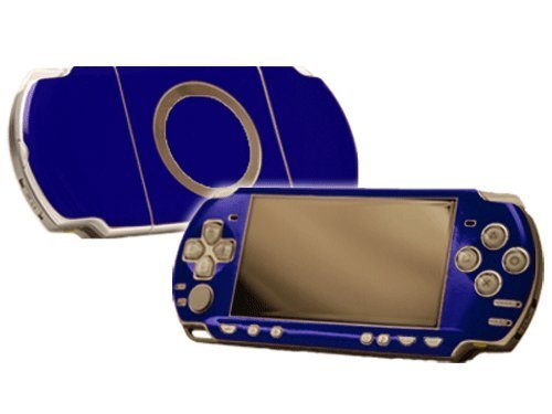 Cobalt Blue Vinyl Decal Faceplate Mod Skin Kit for Sony PlayStation Portable 2000 (PSP-Slim) Console by System Skins