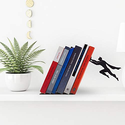 Product Image 4: Decorative Bookends for Shelf or Desk – Black Metal Book Ends – Superhero Bookend – Book Ends for Office – Cool Super Hero Book Stopper / Book Holder / Shelf Dividers – Book & Hero by Artori Design