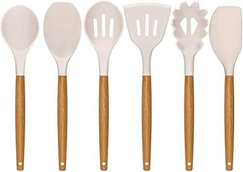 AIKKIL Juego de utensilios de cocina de cocina, 7 piezas de utensilios de silicona con mango de madera, resistente al calor, utensilios de cocina de silicona para utensilios de cocina (Caqui)