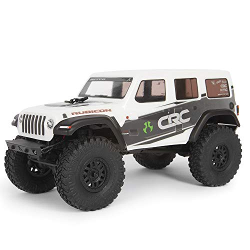 Axial SCX24 2019 Jeep Wrangler JLU CRC RC Crawler 4WD Truck RTR with LED Lights, 3-Ch 2.4GHz Transmitter, Battery, and USB Charger: (White) AXI00002T1