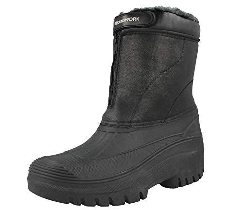 Unisex-Gummistiefel, schwarz, für Reiten, Hof, wasserabweisend, für Stall, Wandern, Regen, Schnee, Winter, Ski-Gummistiefel, Gummistiefel, Schwarz - schwarz anthrazit - Größe: 36 EU