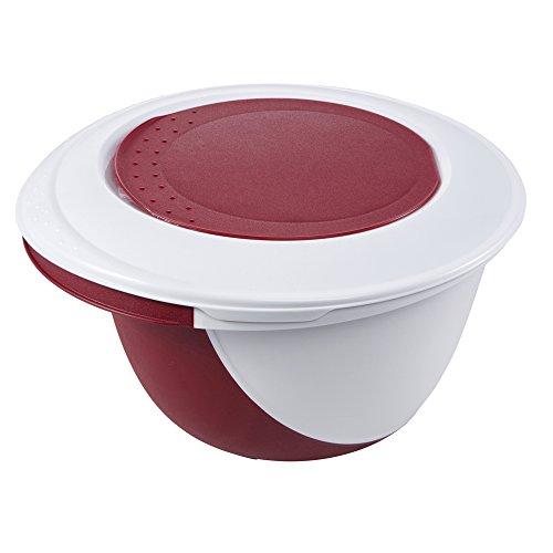 keeeper Ciotola 4 in 1 per Mescolare e Preparare Dolci, con Paraschizzi, Spatola e Sistema Antiscivolo, Camilla, Rosso Bordeaux