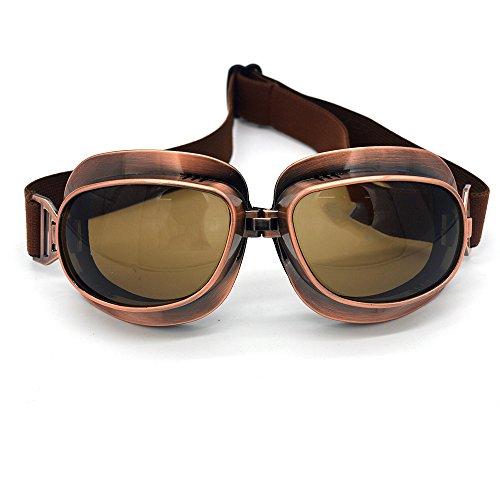 evomosa Motorradbrille Vintage Pilotenbrille Retro Motocrossbrille Outdoor Eyewear Sportbrillen für Halbhelme (Copper Frame Black Lens)