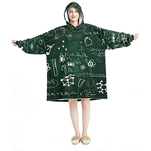 Manta con capucha, informal de microfibra suave, camisón cálido para hombres y mujeres, con diseños de pizarra para lecciones escolares