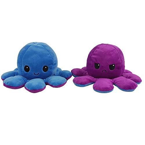 Fanmu Oktopus-Plüschtier, wendbares Spielzeug, weiches Stofftier, Blau+Lila, 1 Stück