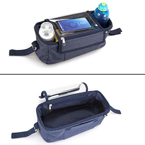 BTR borsa passeggino/carrozzina, Borsa da viaggio con portacellulare, copertura per la pioggia e due ganci da passeggino - Nera - Resistente all'acqua