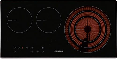 High-Light Kochfeld Autark 70cm x 35cm/Glaskeramikkochfeld mit großen Dreiskreiszone 27cm/3 Kochzonen/Einbaukochfeld/TouchControl/Display/Elektro-Kochfeld/Glaskeramik Kochfeld/Facettenschliff vorne
