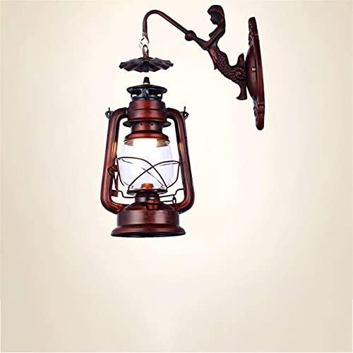 Zziyj Linterna Vintage Retro Vintage Clásico Antiguo Keroseno Lámpara Lámpara Pared Roja Óxido Forjado Hierro Restaurante Decoración Interior Pasillo E14