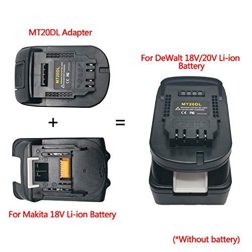 MT20DL Adapter Converter, Convert for Makita 18V Li-ion Battery BL1830 BL1860 BL1815 to for DeWalt 18V/20V DCB200 Lithium-Ion Battery Adapter, Use for DeWalt 18V/20V Max Li-ion Cordless Power Tools