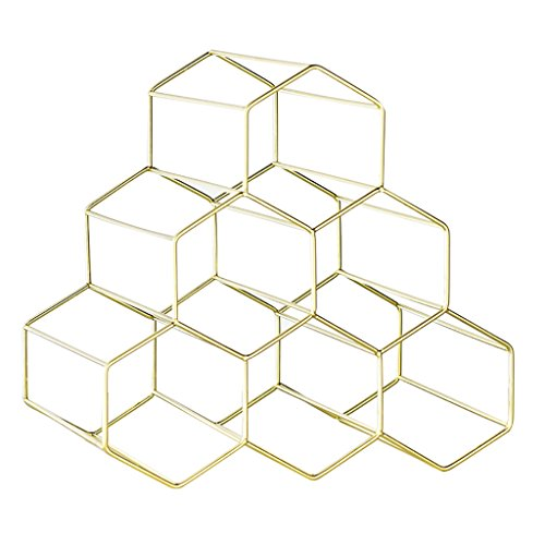 RSWLY Estante del Vino del Oro del Acero Inoxidable, Ornamentos caseros hexagonales de la Mesa del Soporte de exhibición del Vino de la Sala de Estar