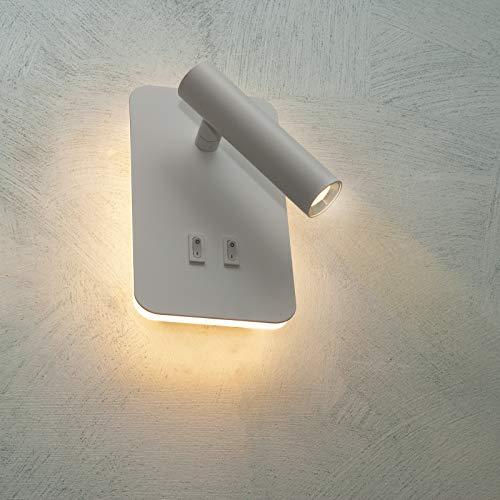 Lampada LED parete applique muro 6W doppia luce comodino lettura letto 2 in 1 (3000K)