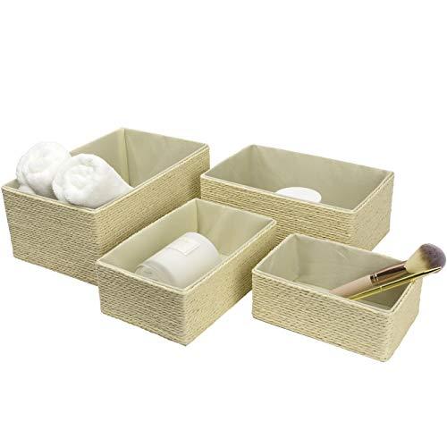 Storage Baskets Set 4 - Stackable Woven Basket Paper Rope Bin, Storage Boxes for Makeup Closet Bathroom Bedroom (Beige)