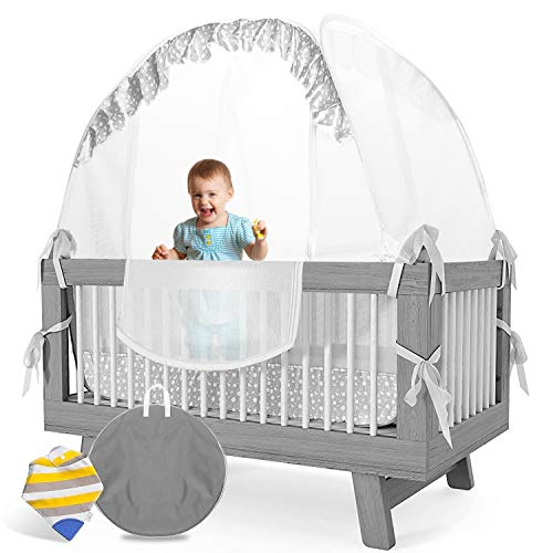 LA CHUPETA Crib Pop Up Tent Safety Net Canopy Cover Protect Baby from Crib Rails Falls and Mosquito Bites See Through Mesh w/Decorative Border Sturdy Unisex Including Bib with Teething Corner