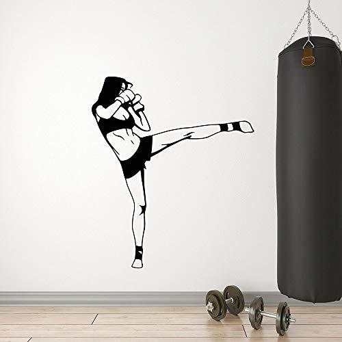 Boxeo vinilo mujeres deportes papel Taekwondo gimnasio artes marciales pared gimnasio pegatina de pared