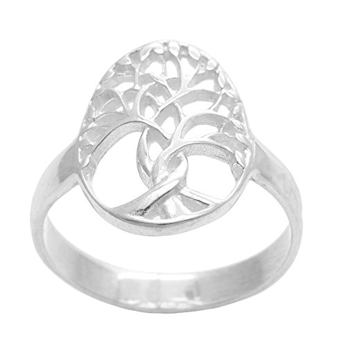 Silverly Women's .925 Sterling Silver Polished Oval Wicca Celtic Tree of Life Band Ring