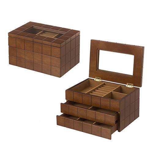 Dcasa - Joyero de Madera con 2 cajones marrón Moderno para Dormitorio Bretaña