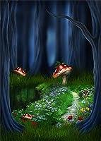 HD 7x10ftポリエステル写真撮影の背景おとぎ話の森緑の草赤いキノコ暗い木の背景写真撮影愛好家パーティーゲーム子供赤ちゃんポートレート写真背景スタジオの小道具