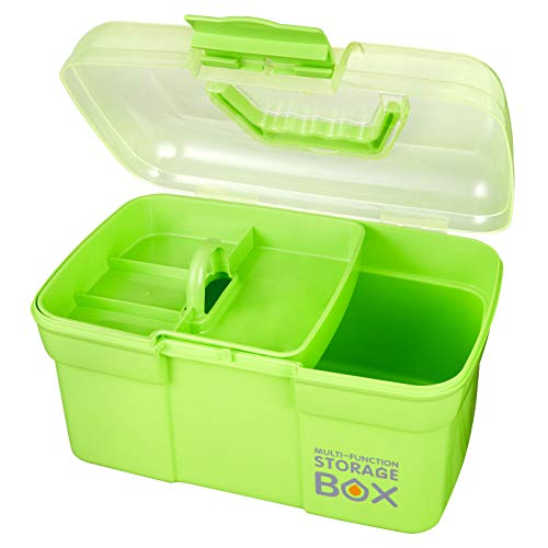 Storage Box, Idemeet Portable 11 Inch Tool Box with Compartment, Handy Storage Box Clear Plastic Storage Case for Small Organization, Green