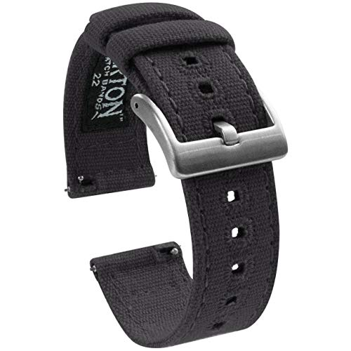 18mm Smoke Grey - Barton Canvas Quick Release Watch Band Straps