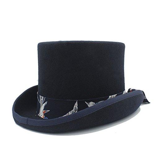 CHENDX Sombrero, Sombrero de Copa Steampunk de Lana de Bricolaje con patrón Azul Banda de Tela para Mujeres (Color : Black, Size : 61CN)