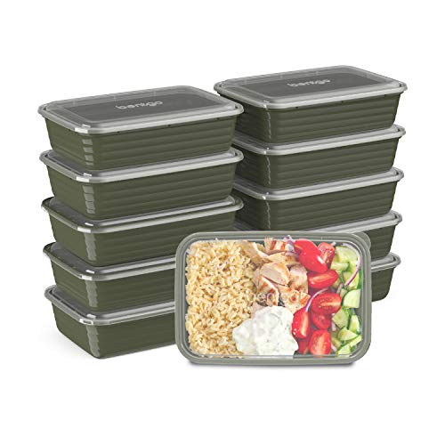 Bentgo Prep 1-Compartment Meal-Prep Containers with Custom-Fit Lids - Microwaveable, Durable, Reusable, BPA-Free, Freezer and Dishwasher Safe Food Storage Containers - 10 Trays & 10 Lids (Khaki Green)