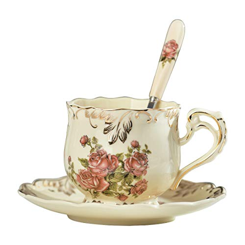 YOLIFE Red Rose Pattern Ivory Ceramic Tea Cup with Saucer and Spoon,Tea Cup and Saucer Set,8oz 240ml …