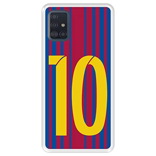 Hapdey Funda Transparente para [ Samsung Galaxy A51 ] diseño [ Ilustración fútbol, número 10 ] Carcasa Silicona Flexible TPU